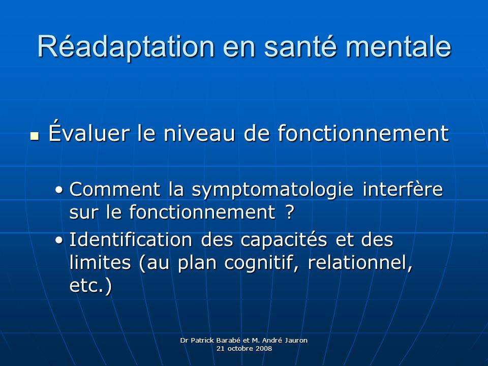 Dr Patrick Barabé et M. André Jauron 21 octobre 2008 Réadaptation en santé mentale Évaluer le niveau de fonctionnement Évaluer le niveau de fonctionne