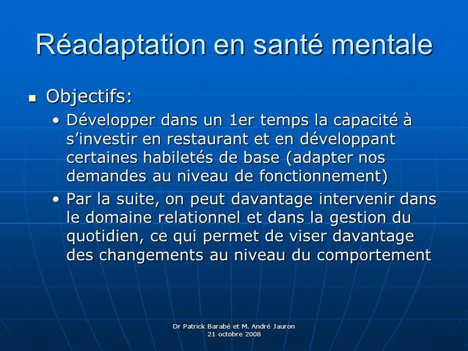 Dr Patrick Barabé et M. André Jauron 21 octobre 2008 Réadaptation en santé mentale Objectifs: Objectifs: Développer dans un 1er temps la capacité à si
