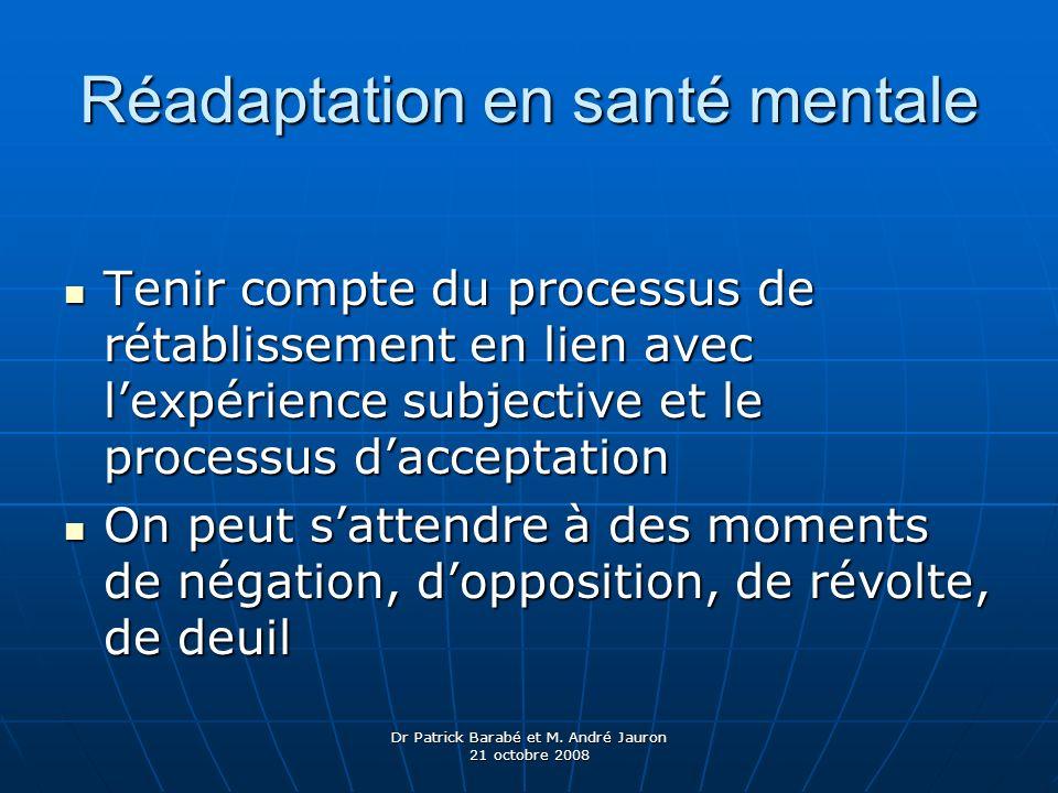 Dr Patrick Barabé et M. André Jauron 21 octobre 2008 Réadaptation en santé mentale Tenir compte du processus de rétablissement en lien avec lexpérienc