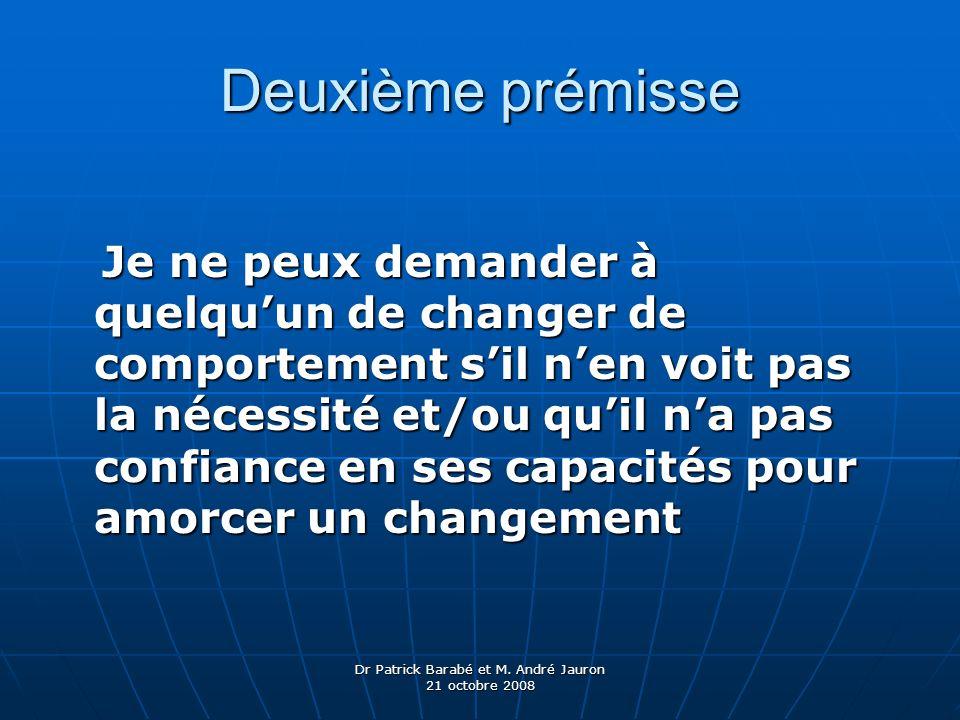 Dr Patrick Barabé et M. André Jauron 21 octobre 2008 Deuxième prémisse Je ne peux demander à quelquun de changer de comportement sil nen voit pas la n