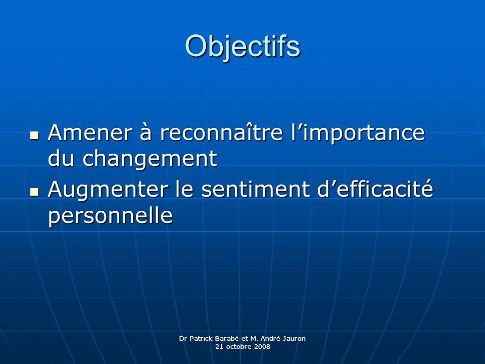 Dr Patrick Barabé et M. André Jauron 21 octobre 2008 Objectifs Amener à reconnaître limportance du changement Amener à reconnaître limportance du chan