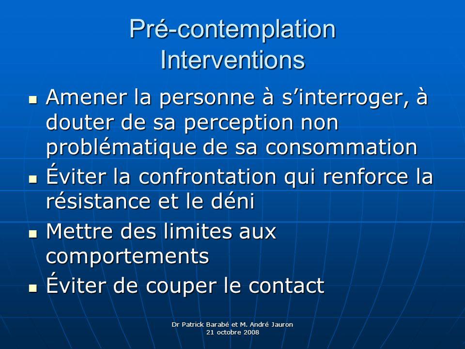 Dr Patrick Barabé et M. André Jauron 21 octobre 2008 Pré-contemplation Interventions Amener la personne à sinterroger, à douter de sa perception non p