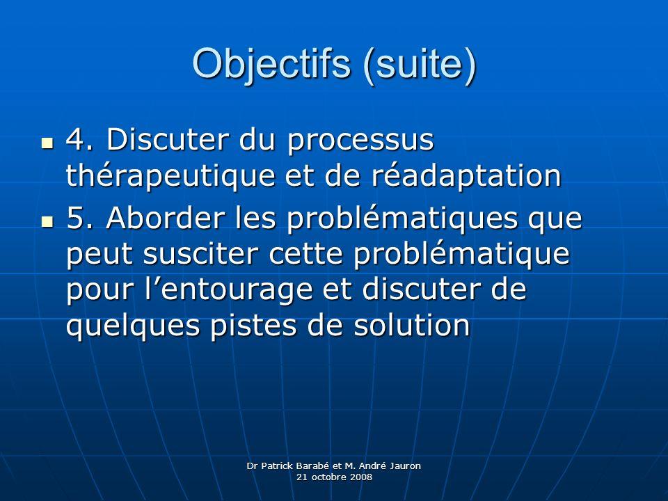 Dr Patrick Barabé et M. André Jauron 21 octobre 2008 Objectifs (suite) 4. Discuter du processus thérapeutique et de réadaptation 4. Discuter du proces