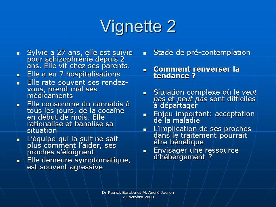 Dr Patrick Barabé et M. André Jauron 21 octobre 2008 Vignette 2 Sylvie a 27 ans, elle est suivie pour schizophrénie depuis 2 ans. Elle vit chez ses pa