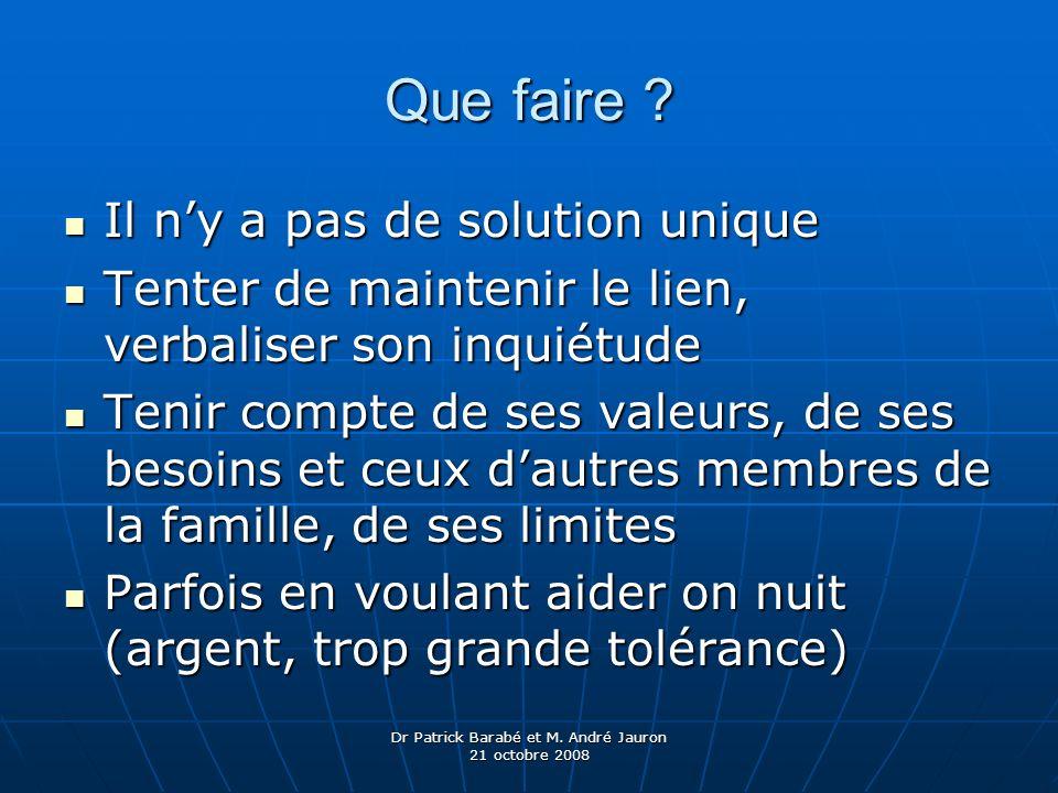 Dr Patrick Barabé et M. André Jauron 21 octobre 2008 Que faire ? Il ny a pas de solution unique Il ny a pas de solution unique Tenter de maintenir le