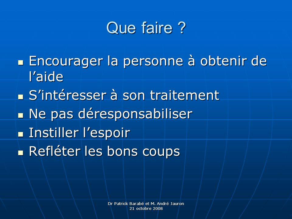 Dr Patrick Barabé et M. André Jauron 21 octobre 2008 Que faire ? Encourager la personne à obtenir de laide Encourager la personne à obtenir de laide S