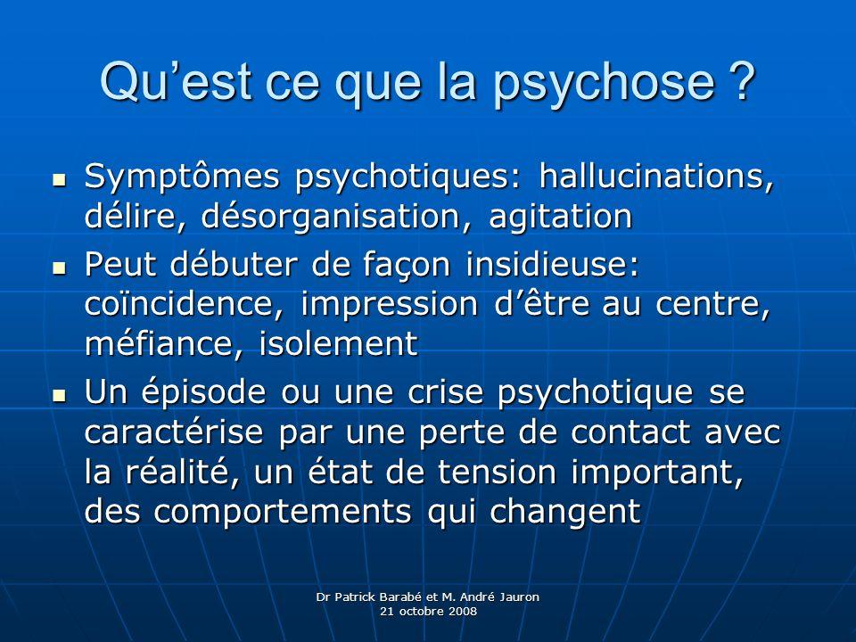 Dr Patrick Barabé et M. André Jauron 21 octobre 2008 Quest ce que la psychose ? Symptômes psychotiques: hallucinations, délire, désorganisation, agita