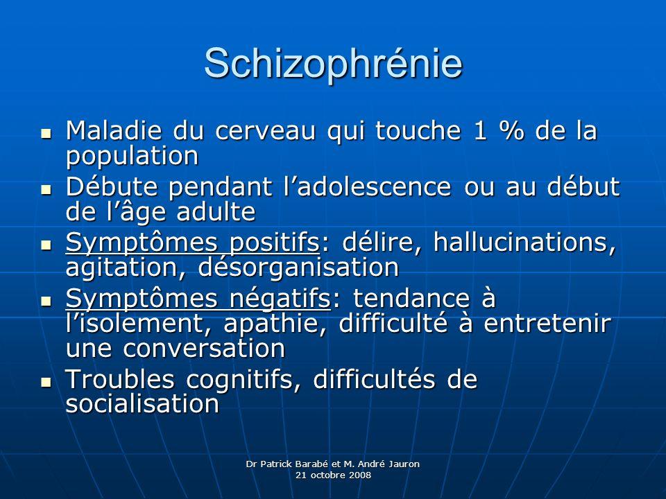Dr Patrick Barabé et M. André Jauron 21 octobre 2008 Schizophrénie Maladie du cerveau qui touche 1 % de la population Maladie du cerveau qui touche 1