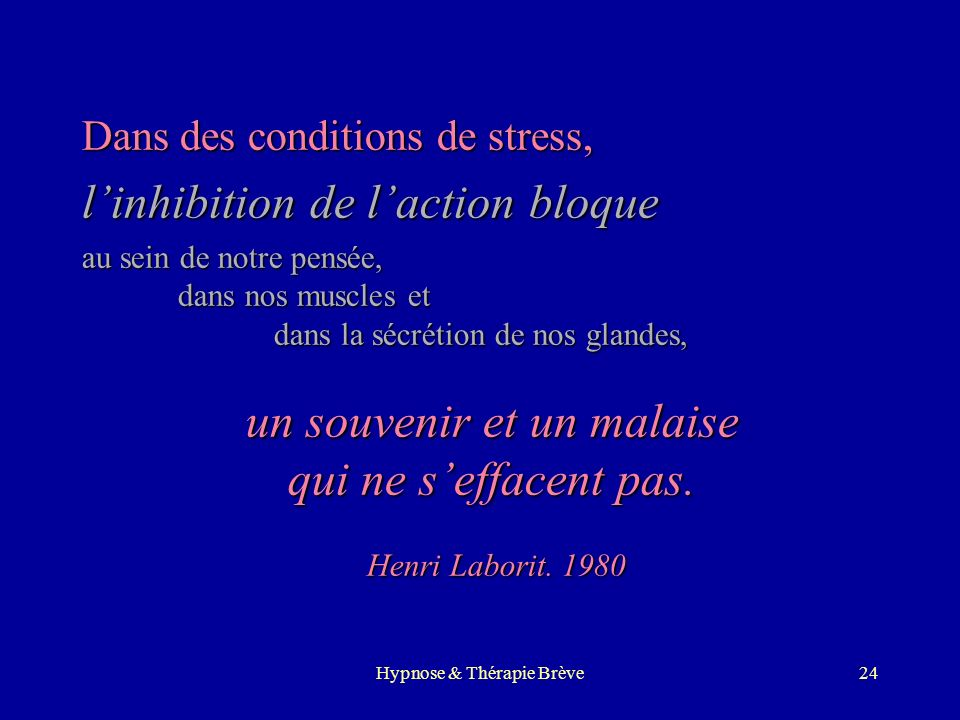 Hypnose & Thérapie Brève23 Lhypnose par le corps Approche personnelleApproche personnelle développée au contact des patients adressésdéveloppée au con
