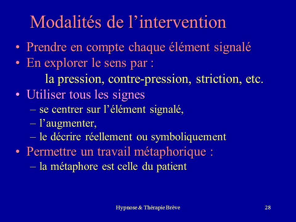 Hypnose & Thérapie Brève27 Méthodologie – Entretien clinique préalable – Définition du problème et des objectifs – Exploration hypnotique – Permettre