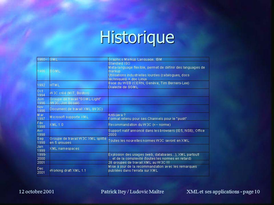 12 octobre 2001Patrick Itey / Ludovic MaîtreXML et ses applications - page 10 Historique