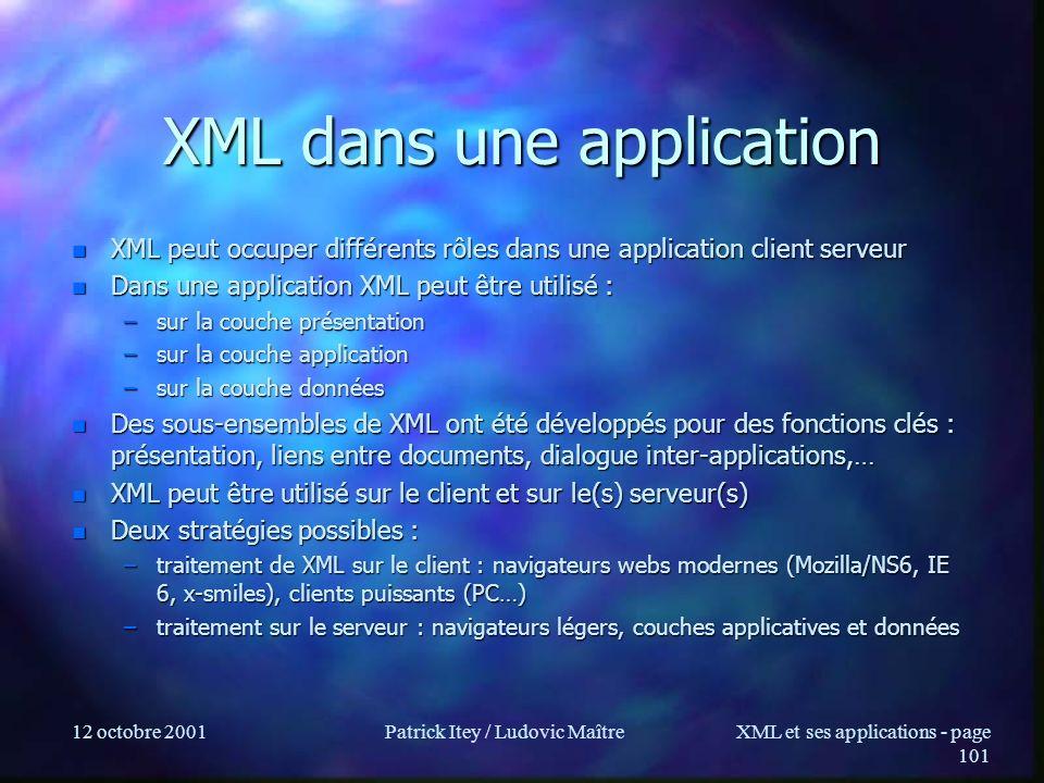 12 octobre 2001Patrick Itey / Ludovic MaîtreXML et ses applications - page 101 XML dans une application n XML peut occuper différents rôles dans une a