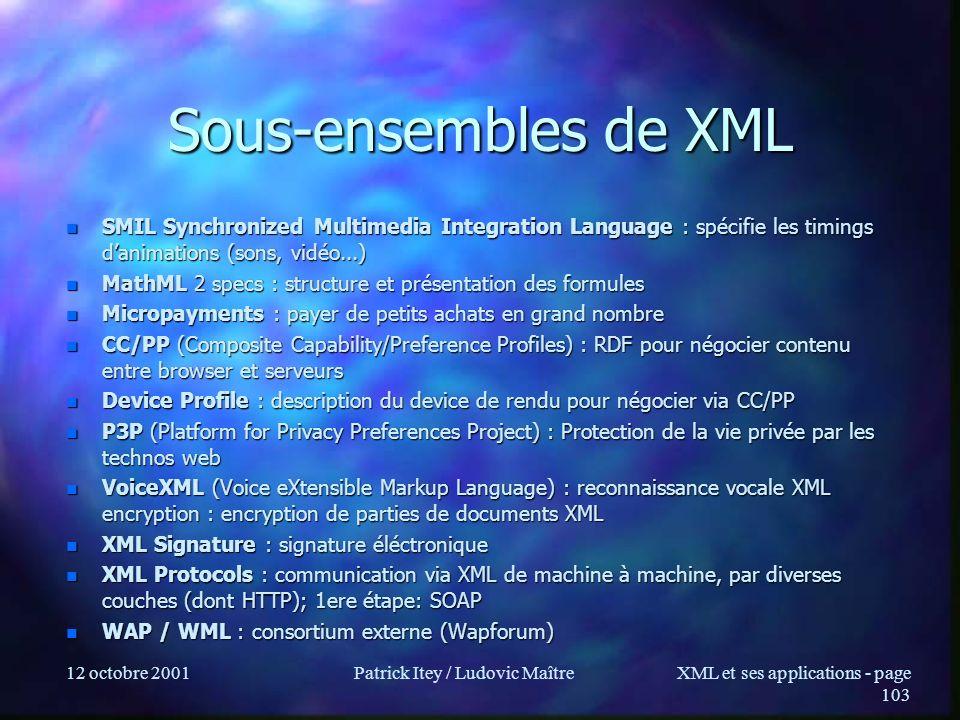 12 octobre 2001Patrick Itey / Ludovic MaîtreXML et ses applications - page 103 Sous-ensembles de XML n SMIL Synchronized Multimedia Integration Langua