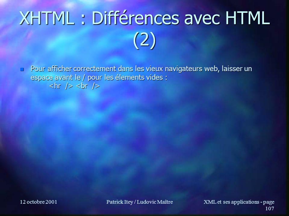 12 octobre 2001Patrick Itey / Ludovic MaîtreXML et ses applications - page 107 XHTML : Différences avec HTML (2) n Pour afficher correctement dans les