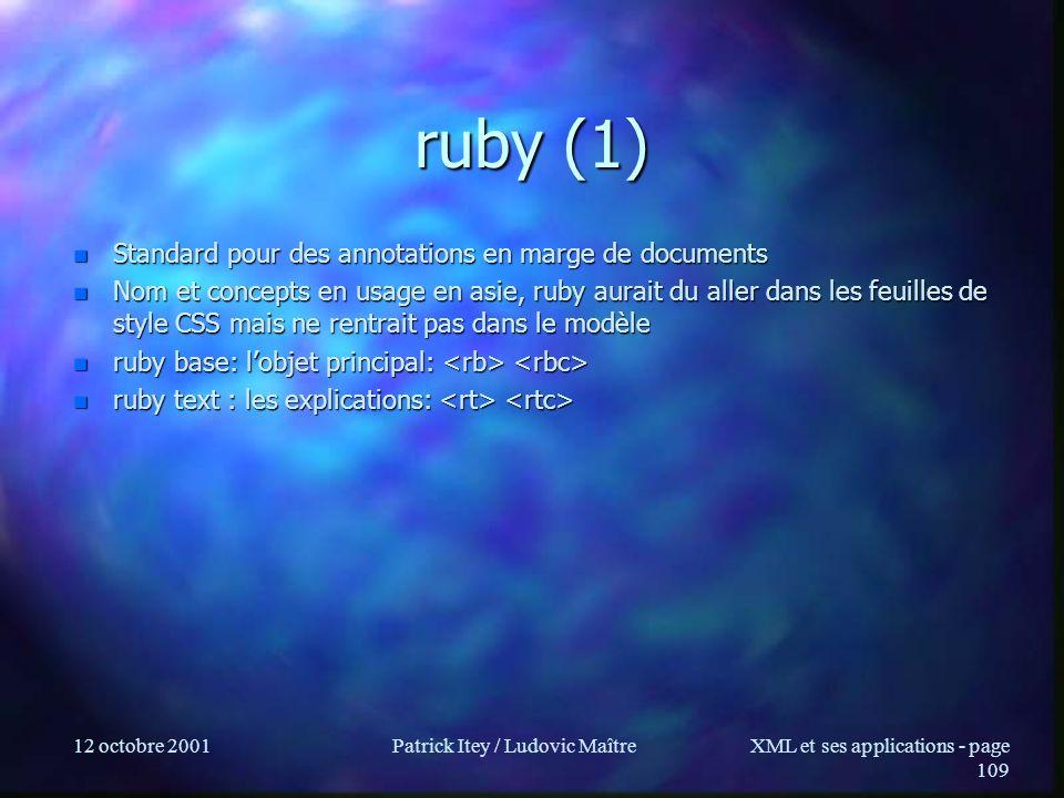 12 octobre 2001Patrick Itey / Ludovic MaîtreXML et ses applications - page 109 ruby (1) n Standard pour des annotations en marge de documents n Nom et