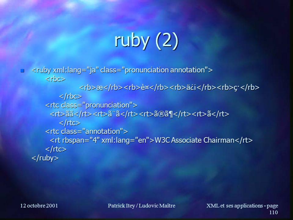 12 octobre 2001Patrick Itey / Ludovic MaîtreXML et ses applications - page 110 ruby (2) n æ è¤ ä¿¡ ç· ãã ã¨ã ã®ã¶ ã W3C Associate Chairman n æ è¤ ä¿¡