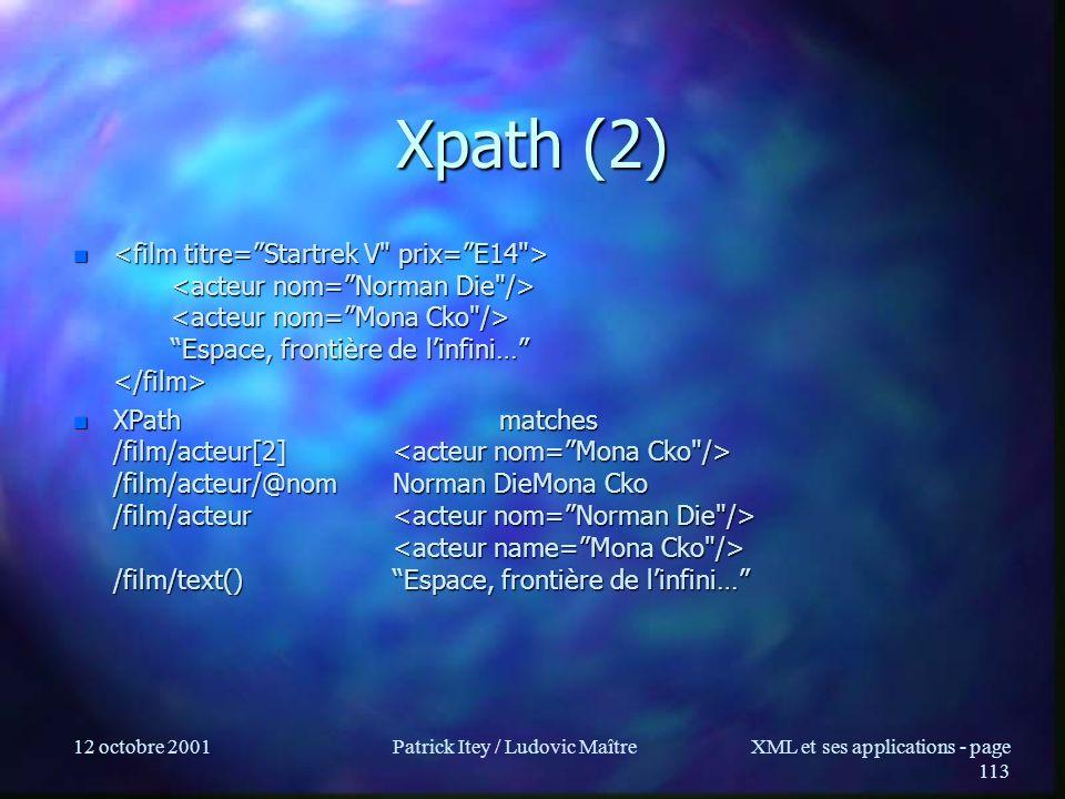 12 octobre 2001Patrick Itey / Ludovic MaîtreXML et ses applications - page 113 Xpath (2) n Espace, frontière de linfini… n Espace, frontière de linfin