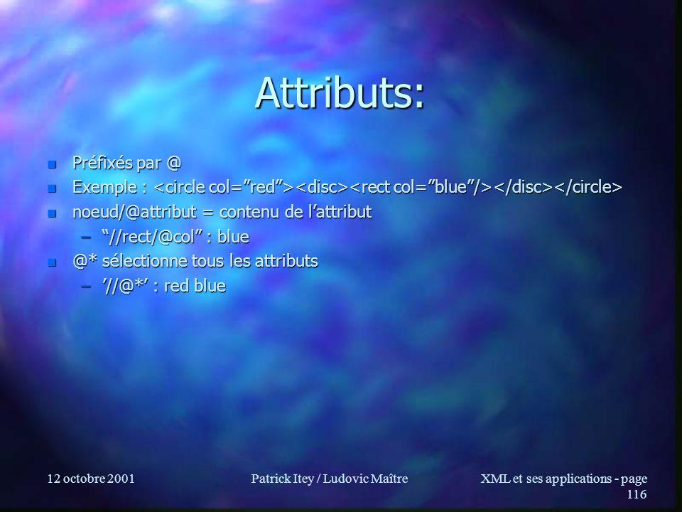 12 octobre 2001Patrick Itey / Ludovic MaîtreXML et ses applications - page 116 Attributs: n Préfixés par @ n Exemple : n Exemple : n noeud/@attribut =