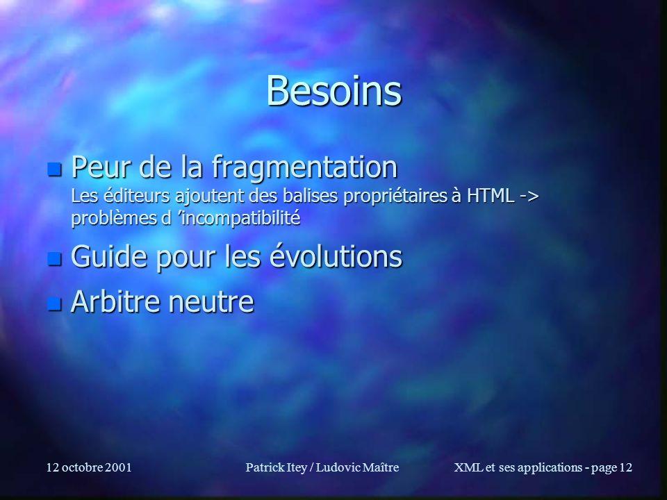 12 octobre 2001Patrick Itey / Ludovic MaîtreXML et ses applications - page 12 Besoins n Peur de la fragmentation Les éditeurs ajoutent des balises pro