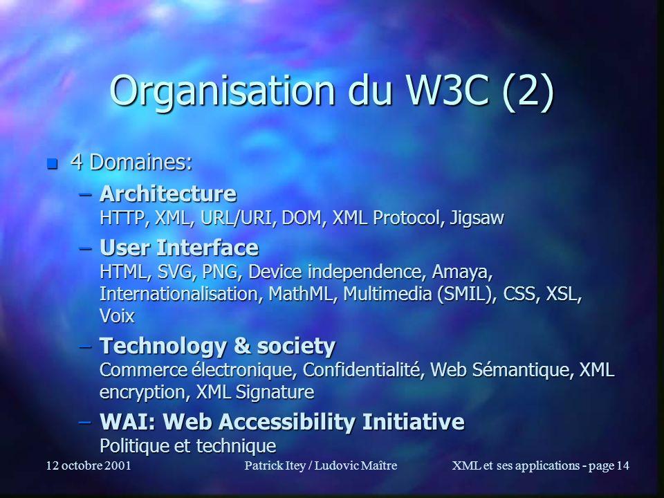 12 octobre 2001Patrick Itey / Ludovic MaîtreXML et ses applications - page 14 Organisation du W3C (2) n 4 Domaines: –Architecture HTTP, XML, URL/URI,