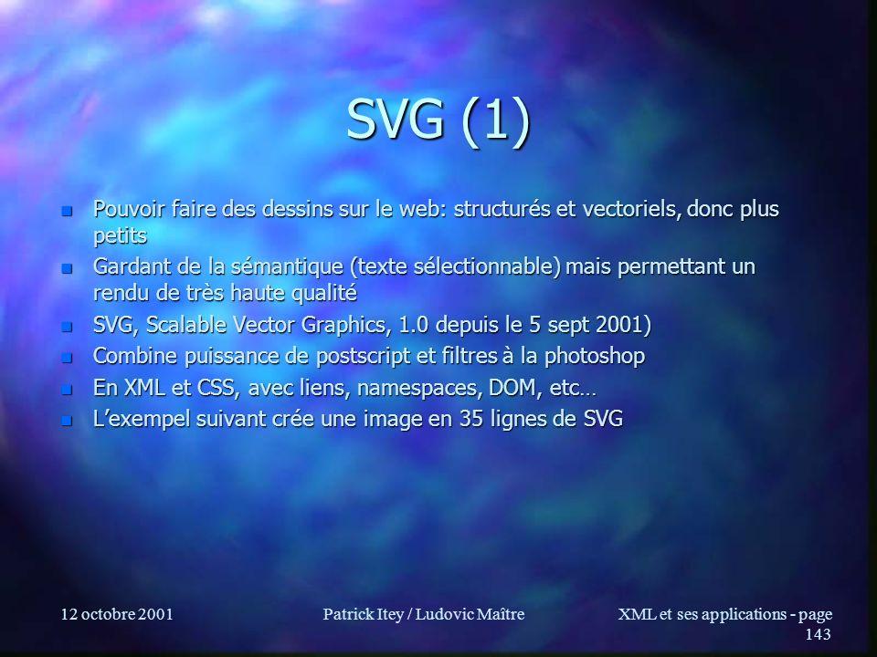 12 octobre 2001Patrick Itey / Ludovic MaîtreXML et ses applications - page 143 SVG (1) n Pouvoir faire des dessins sur le web: structurés et vectoriel