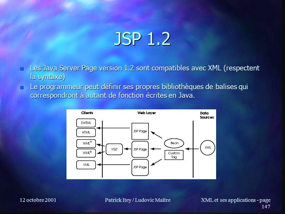 12 octobre 2001Patrick Itey / Ludovic MaîtreXML et ses applications - page 147 JSP 1.2 n Les Java Server Page version 1.2 sont compatibles avec XML (r