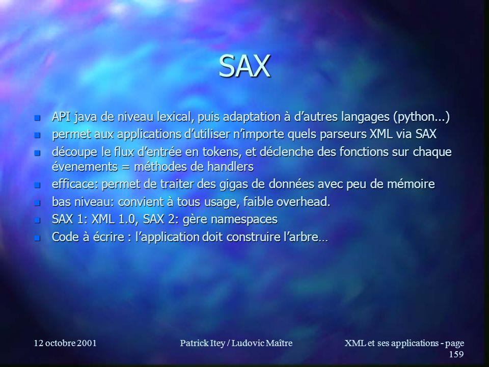 12 octobre 2001Patrick Itey / Ludovic MaîtreXML et ses applications - page 159 SAX n API java de niveau lexical, puis adaptation à dautres langages (p