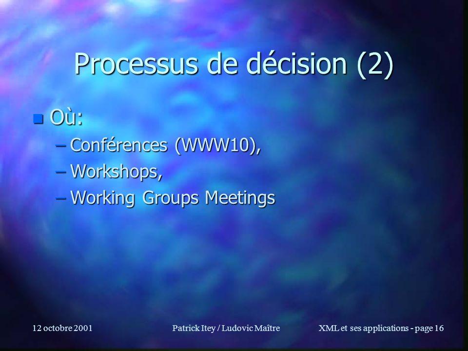 12 octobre 2001Patrick Itey / Ludovic MaîtreXML et ses applications - page 16 Processus de décision (2) n Où: –Conférences (WWW10), –Workshops, –Worki