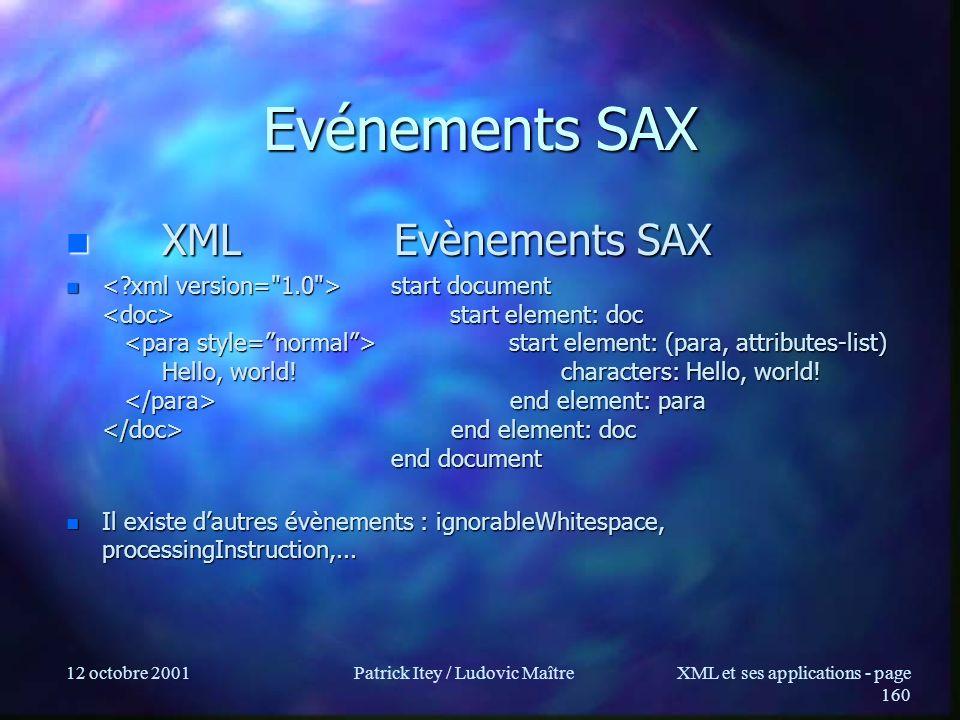 12 octobre 2001Patrick Itey / Ludovic MaîtreXML et ses applications - page 160 Evénements SAX XML Evènements SAX XML Evènements SAX n start document s