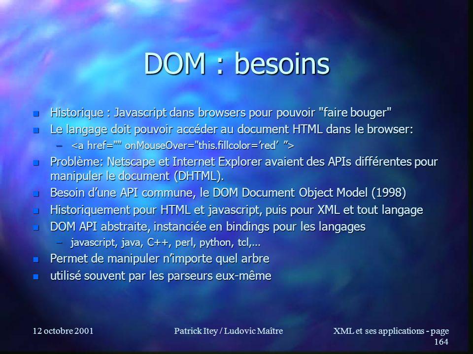 12 octobre 2001Patrick Itey / Ludovic MaîtreXML et ses applications - page 164 DOM : besoins n Historique : Javascript dans browsers pour pouvoir