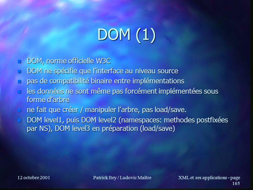 12 octobre 2001Patrick Itey / Ludovic MaîtreXML et ses applications - page 165 DOM (1) n DOM, norme officielle W3C n DOM ne spécifie que linterface au