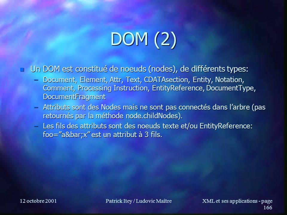 12 octobre 2001Patrick Itey / Ludovic MaîtreXML et ses applications - page 166 DOM (2) n Un DOM est constitué de noeuds (nodes), de différents types: