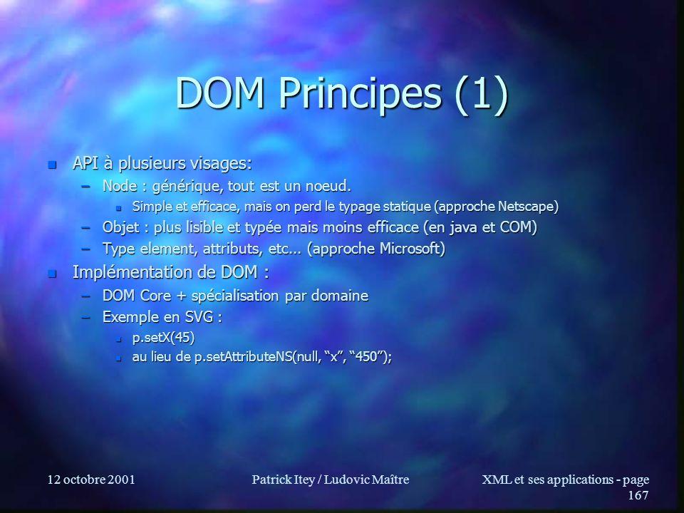 12 octobre 2001Patrick Itey / Ludovic MaîtreXML et ses applications - page 167 DOM Principes (1) n API à plusieurs visages: –Node : générique, tout es
