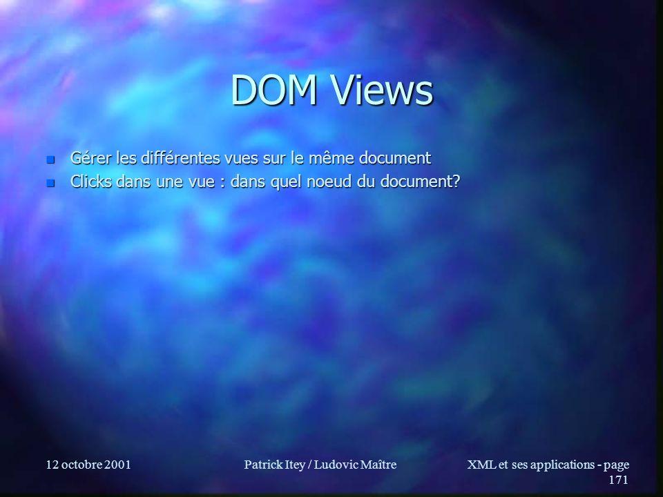 12 octobre 2001Patrick Itey / Ludovic MaîtreXML et ses applications - page 171 DOM Views n Gérer les différentes vues sur le même document n Clicks da