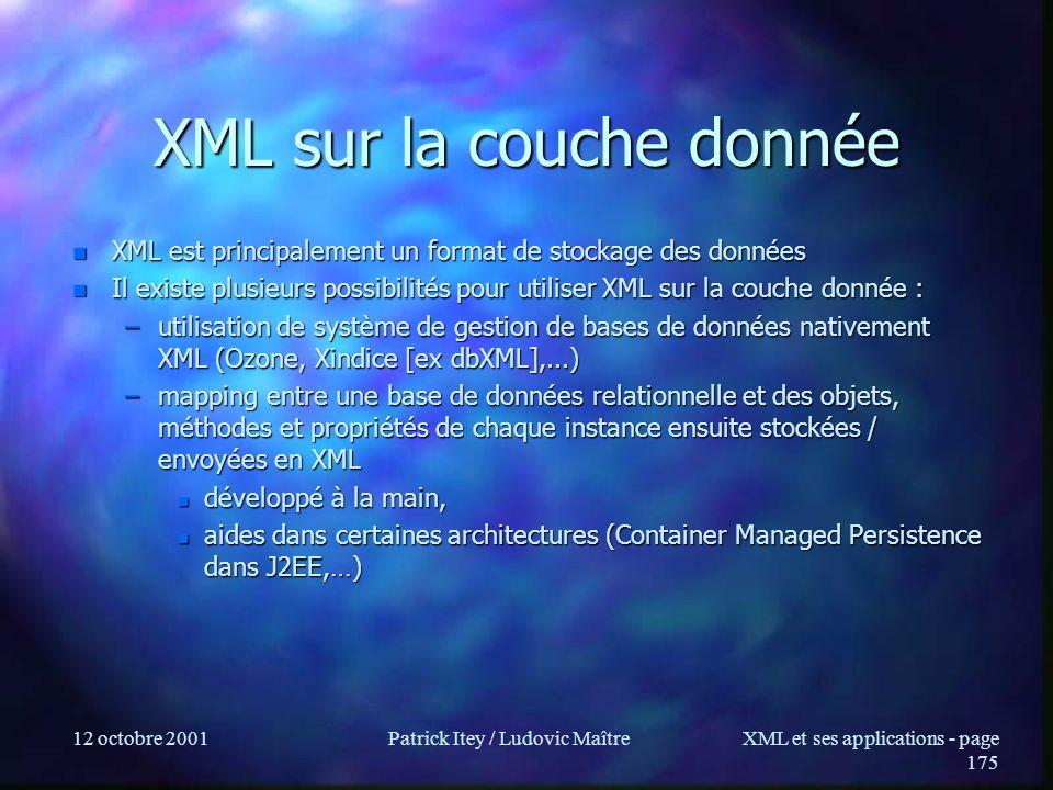 12 octobre 2001Patrick Itey / Ludovic MaîtreXML et ses applications - page 175 XML sur la couche donnée n XML est principalement un format de stockage