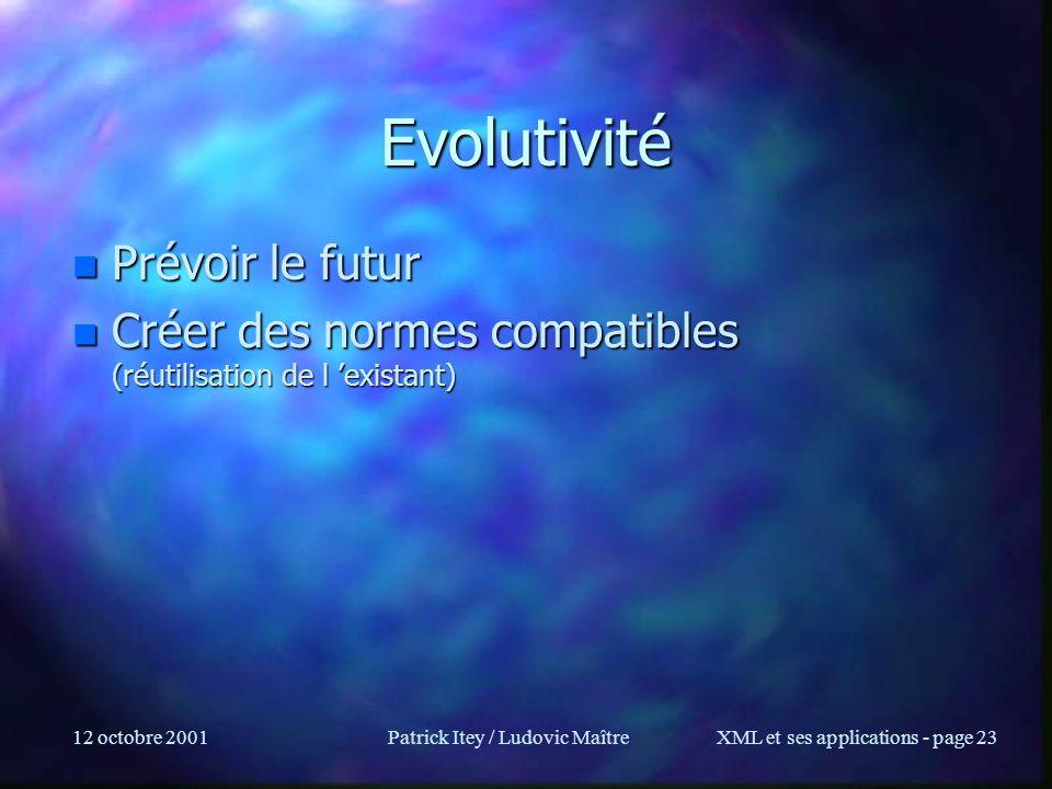 12 octobre 2001Patrick Itey / Ludovic MaîtreXML et ses applications - page 23 Evolutivité n Prévoir le futur n Créer des normes compatibles (réutilisa