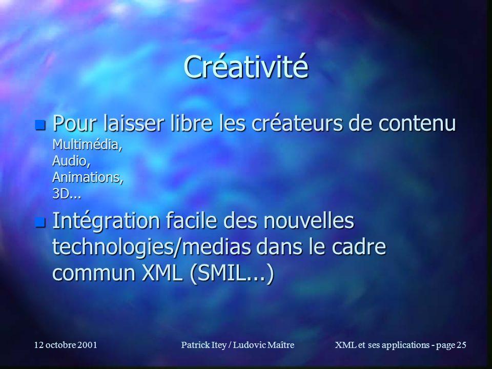 12 octobre 2001Patrick Itey / Ludovic MaîtreXML et ses applications - page 25 Créativité n Pour laisser libre les créateurs de contenu Multimédia, Aud