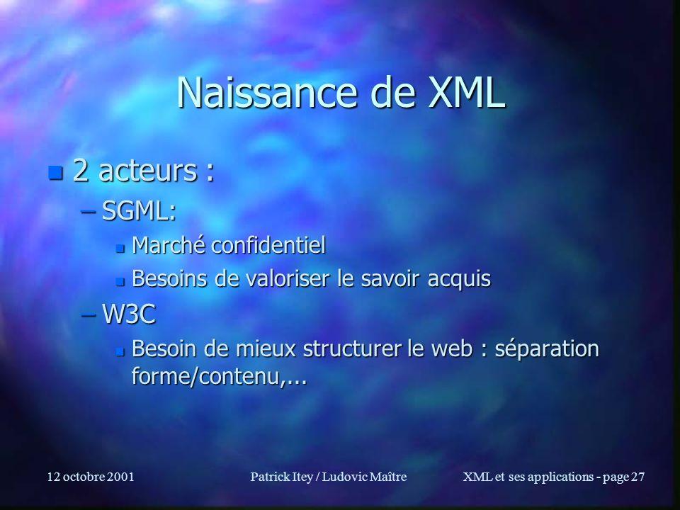 12 octobre 2001Patrick Itey / Ludovic MaîtreXML et ses applications - page 27 Naissance de XML n 2 acteurs : –SGML: n Marché confidentiel n Besoins de