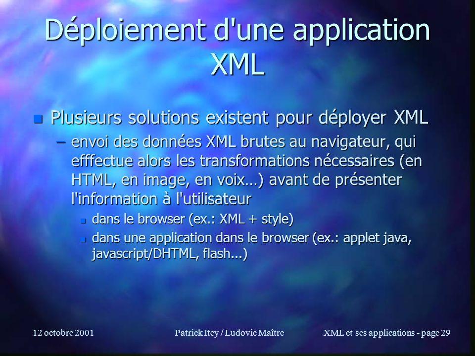 12 octobre 2001Patrick Itey / Ludovic MaîtreXML et ses applications - page 29 Déploiement d'une application XML n Plusieurs solutions existent pour dé