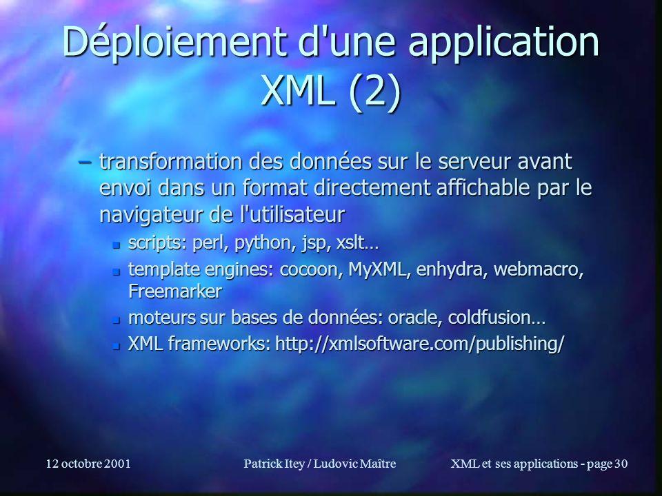 12 octobre 2001Patrick Itey / Ludovic MaîtreXML et ses applications - page 30 Déploiement d'une application XML (2) –transformation des données sur le