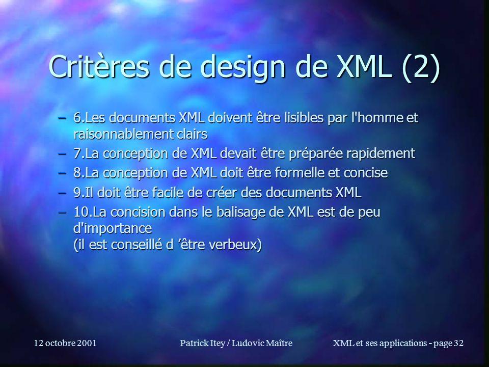 12 octobre 2001Patrick Itey / Ludovic MaîtreXML et ses applications - page 32 Critères de design de XML (2) –6.Les documents XML doivent être lisibles