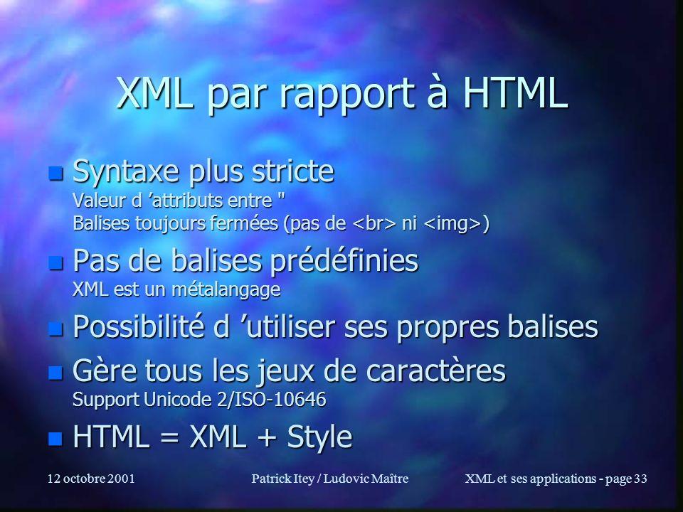 12 octobre 2001Patrick Itey / Ludovic MaîtreXML et ses applications - page 33 XML par rapport à HTML n Syntaxe plus stricte Valeur d attributs entre