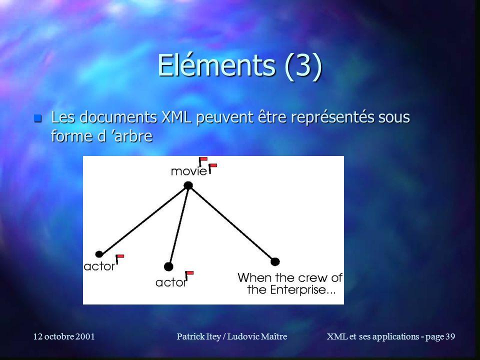 12 octobre 2001Patrick Itey / Ludovic MaîtreXML et ses applications - page 39 Eléments (3) n Les documents XML peuvent être représentés sous forme d a