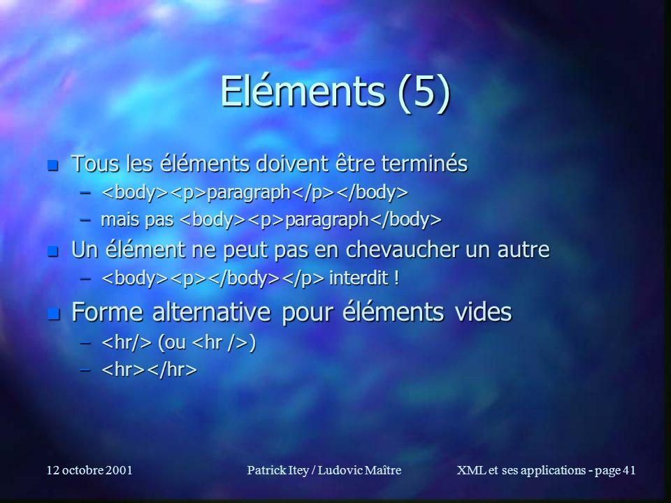12 octobre 2001Patrick Itey / Ludovic MaîtreXML et ses applications - page 41 Eléments (5) n Tous les éléments doivent être terminés – paragraph – par