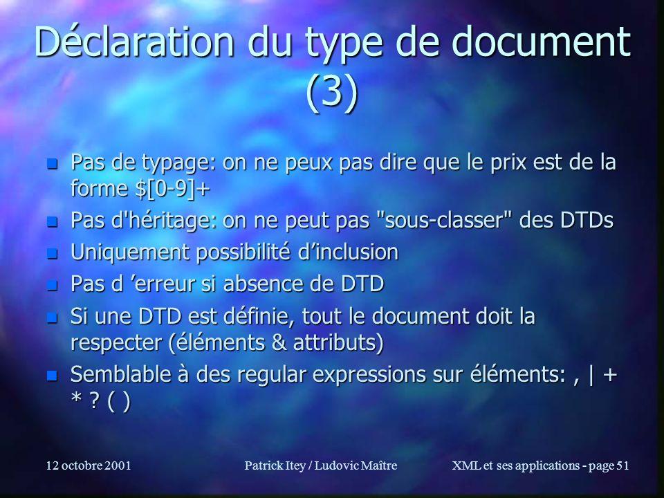 12 octobre 2001Patrick Itey / Ludovic MaîtreXML et ses applications - page 51 Déclaration du type de document (3) n Pas de typage: on ne peux pas dire