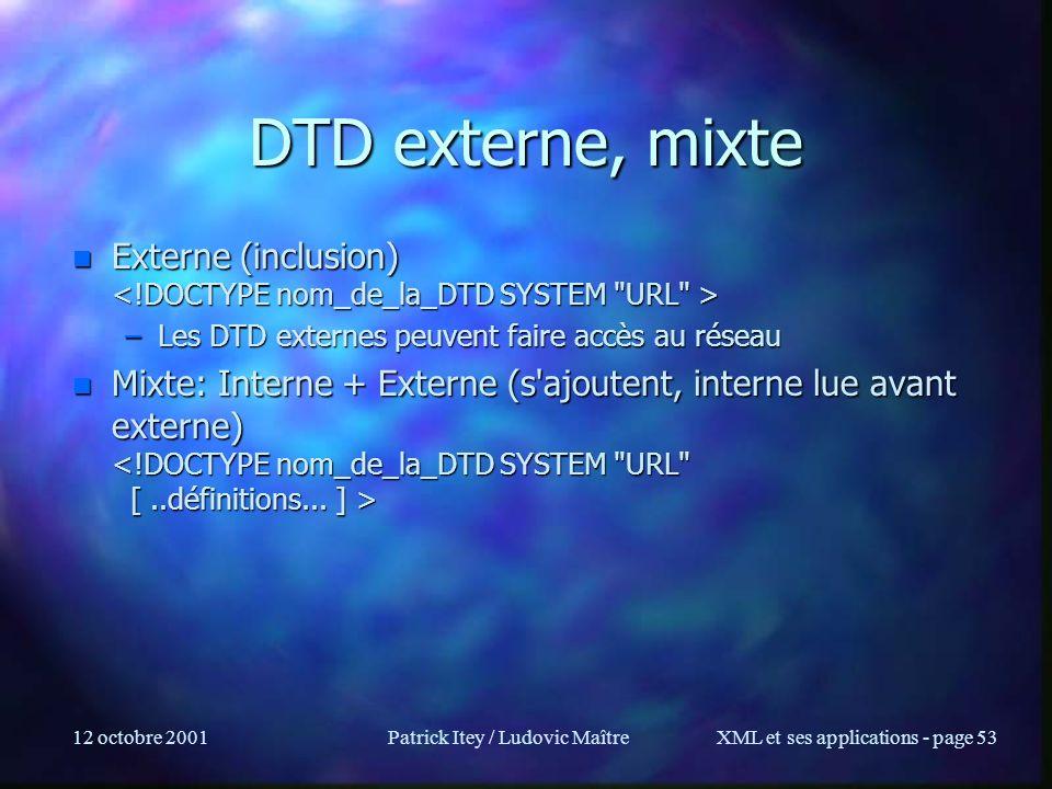 12 octobre 2001Patrick Itey / Ludovic MaîtreXML et ses applications - page 53 DTD externe, mixte n Externe (inclusion) n Externe (inclusion) –Les DTD