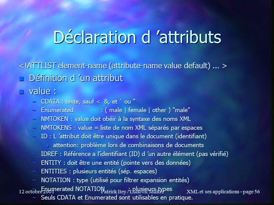 12 octobre 2001Patrick Itey / Ludovic MaîtreXML et ses applications - page 56 Déclaration d attributs n Définition d un attribut n value : –CDATA : te