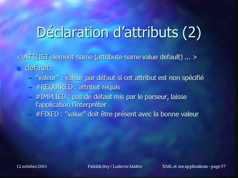 12 octobre 2001Patrick Itey / Ludovic MaîtreXML et ses applications - page 57 Déclaration dattributs (2) n default: –