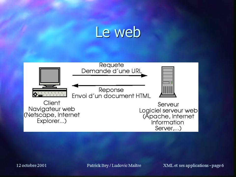 12 octobre 2001Patrick Itey / Ludovic MaîtreXML et ses applications - page 7 Le web (2) n Une application sur le poste utilisateur demande des documents à une machine distante, le serveur, à une adresse (URL) http://www.inria.fr (via le transport HTTP) n Le serveur renvoit un document HTML à lapplication qui l affiche à l écran en fonction des balises HTML:Cours XML Donne:Cours XML ou: Cours *XML*
