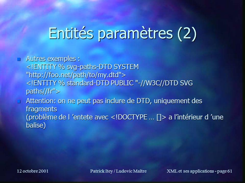 12 octobre 2001Patrick Itey / Ludovic MaîtreXML et ses applications - page 61 Entités paramètres (2) n Autres exemples : n Autres exemples : n Attenti